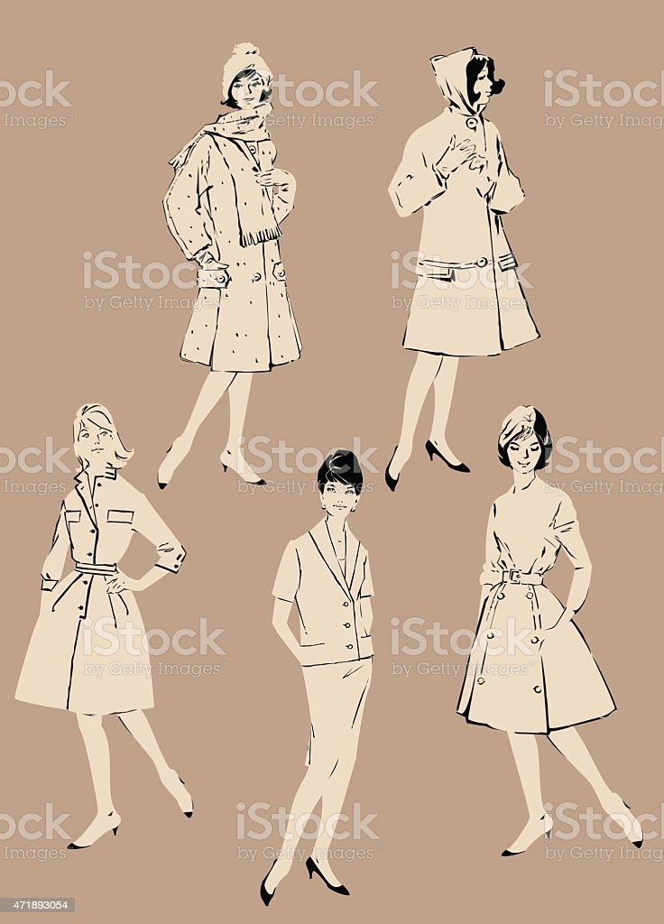 Set of elegant women - retro style fashion models vector art illustration