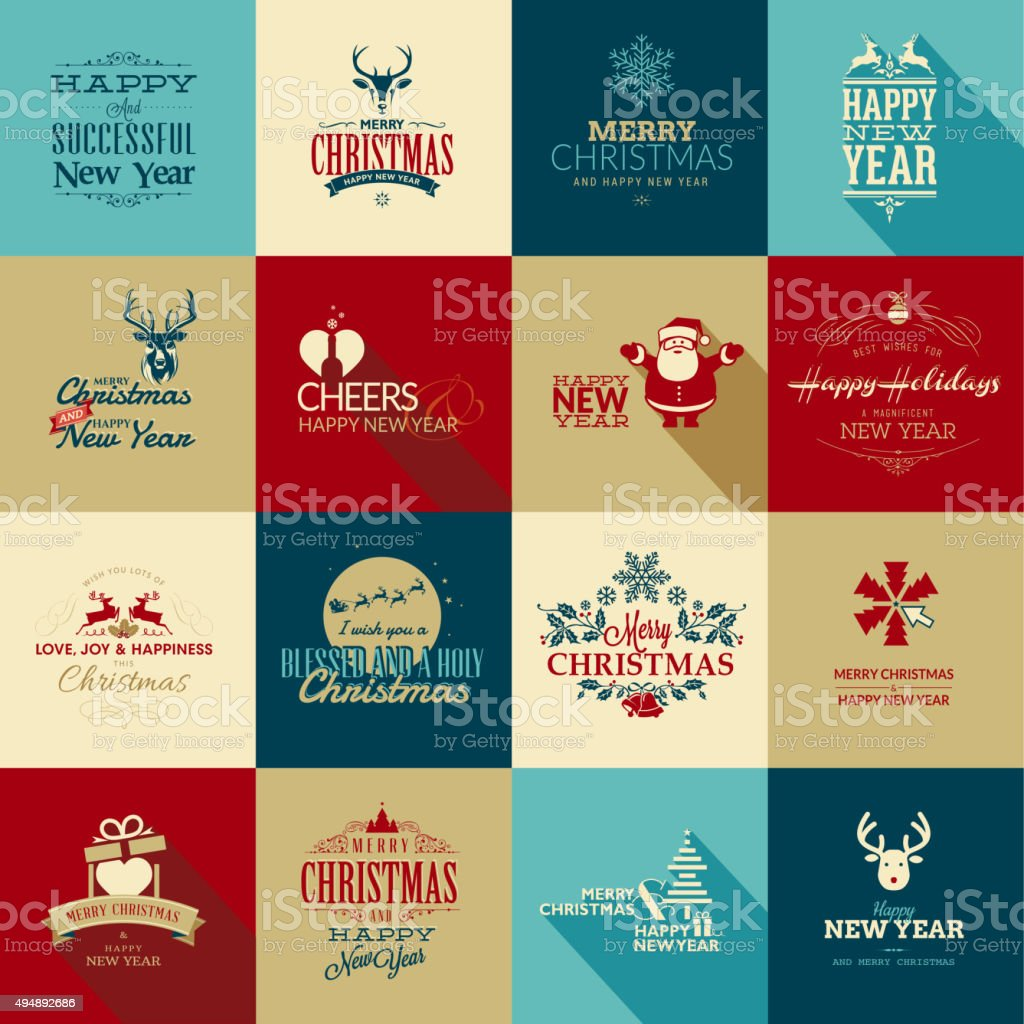 Set of elements for Christmas and New Year greeting cards vector art illustration