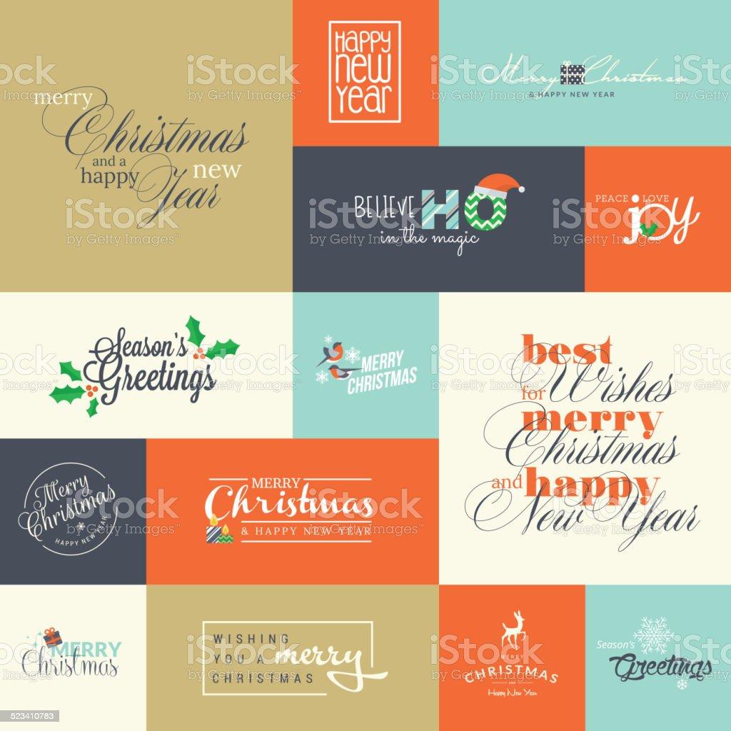 Conjunto de elementos para Navidad y Año Nuevo tarjetas de felicitación illustracion libre de derechos libre de derechos