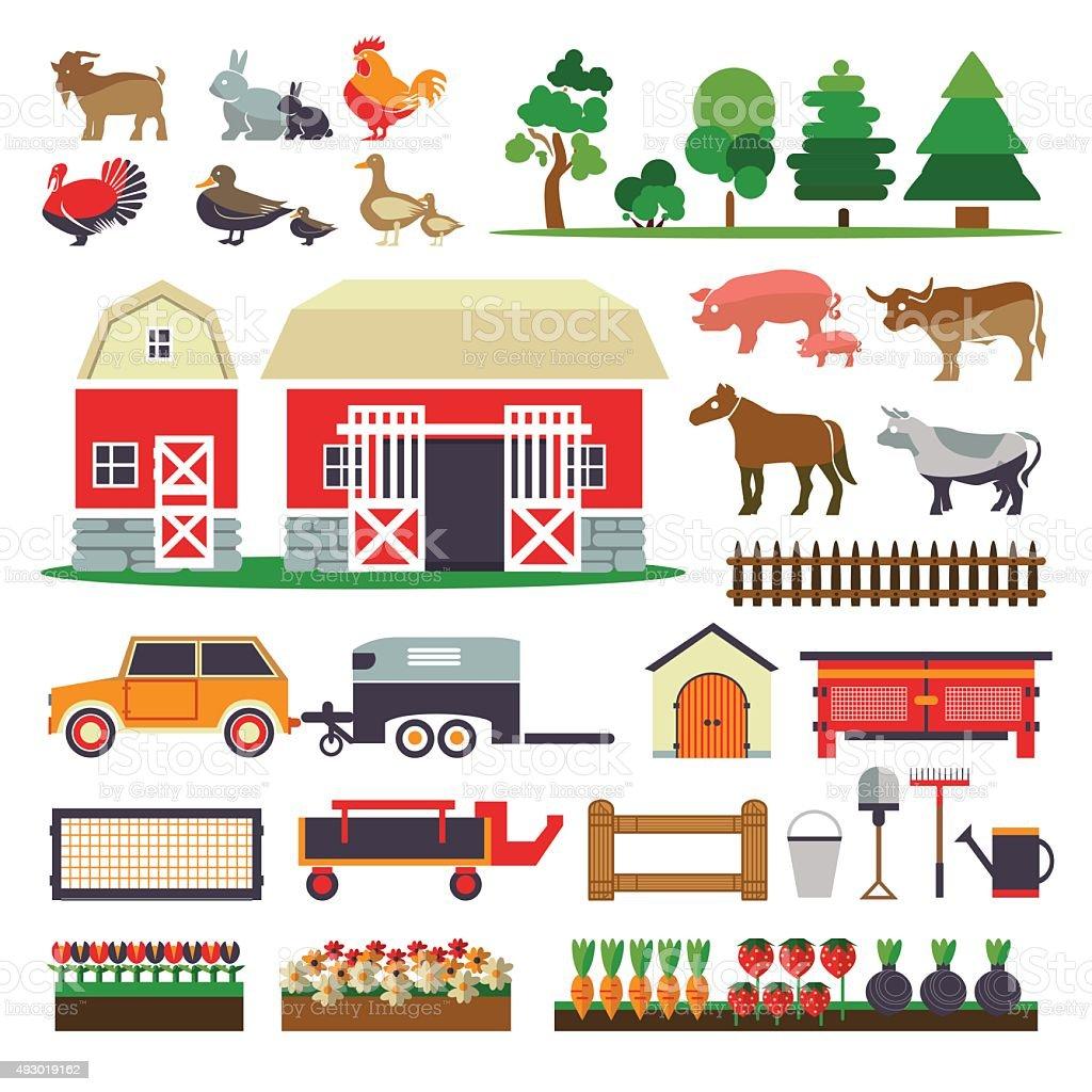 Set of elements for farm. Farm building, animals, plants, vegeta vector art illustration