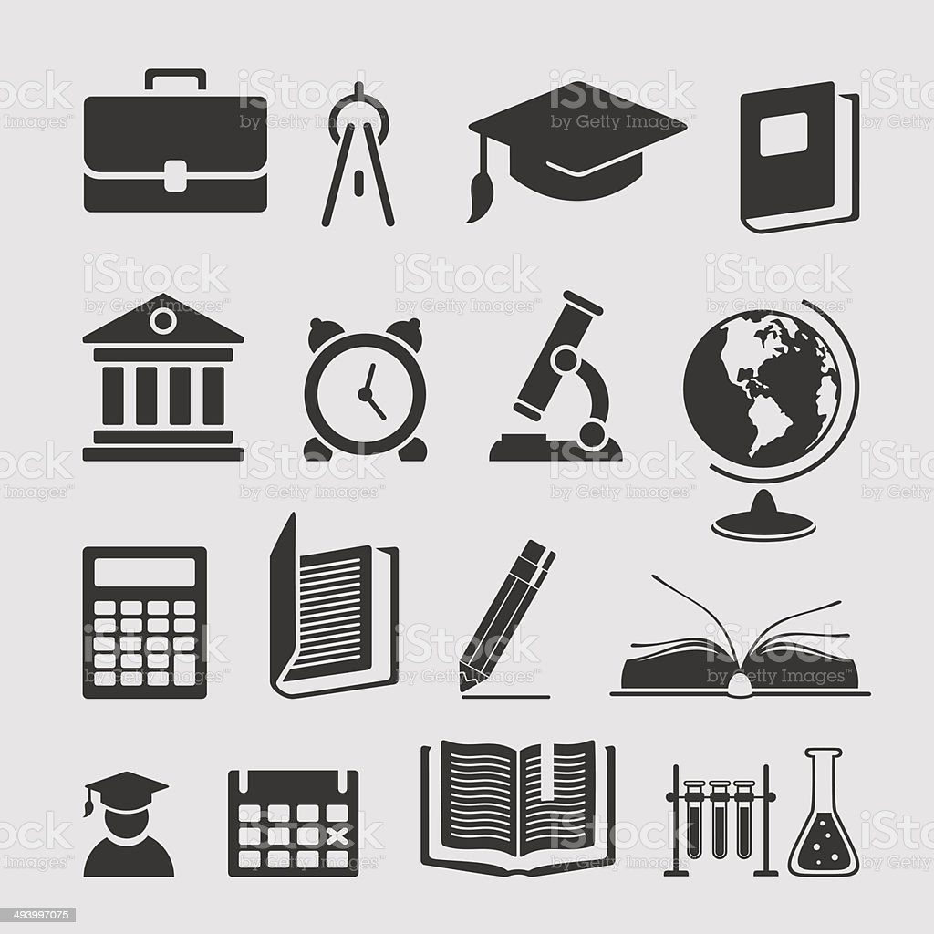 Set of elements of learning vector art illustration