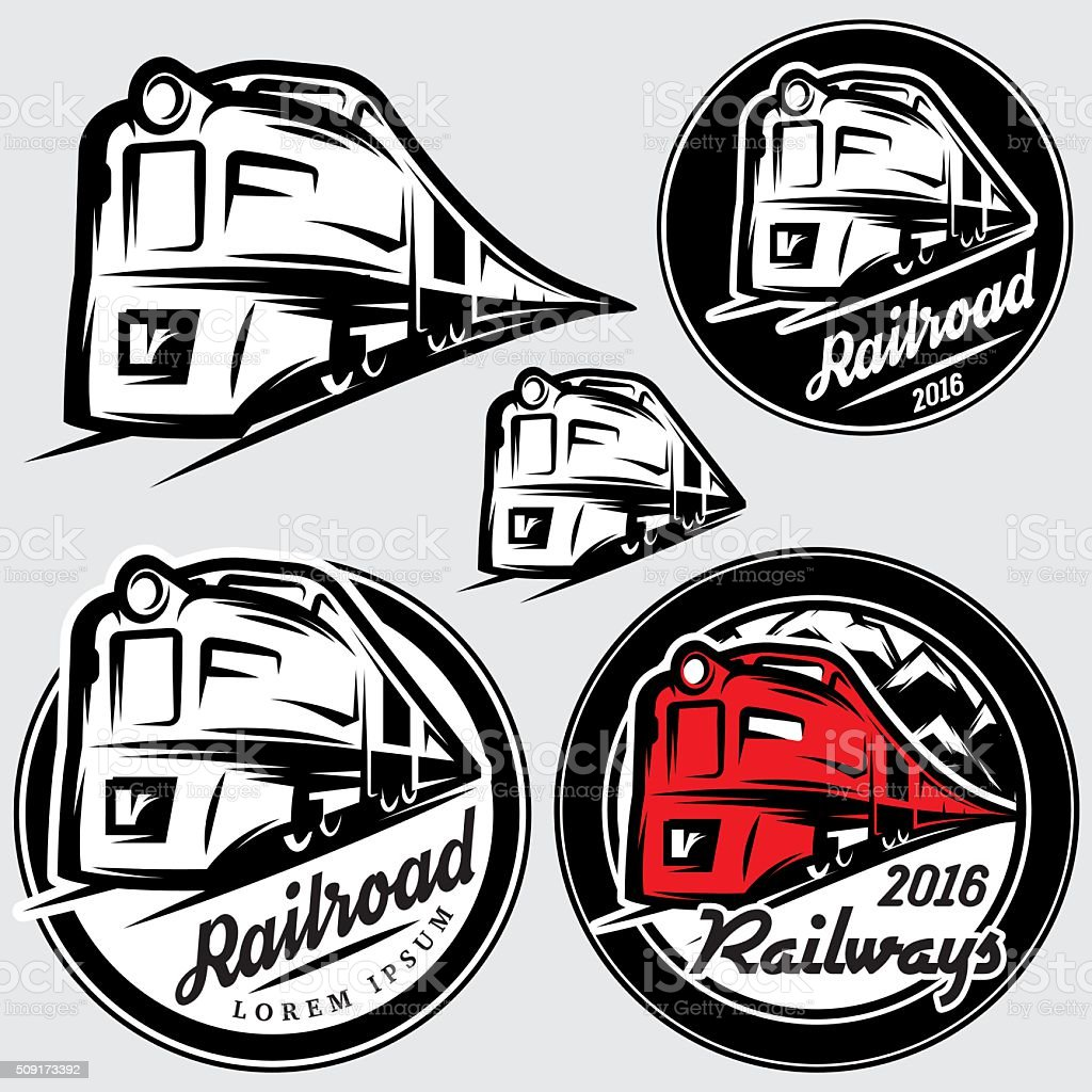 set of emblems in retro style with locomotives and railroad vector art illustration