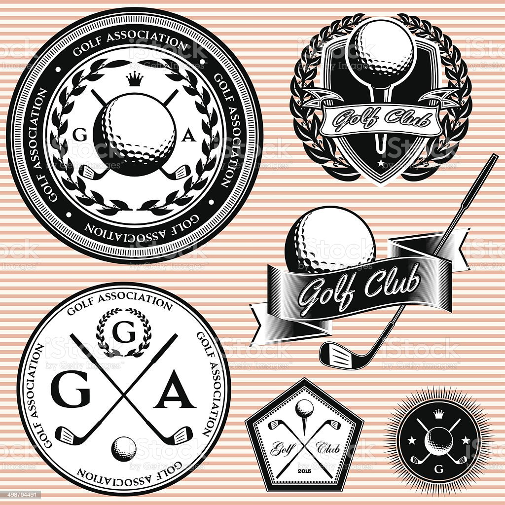 set of emblems to topic golf game vector art illustration
