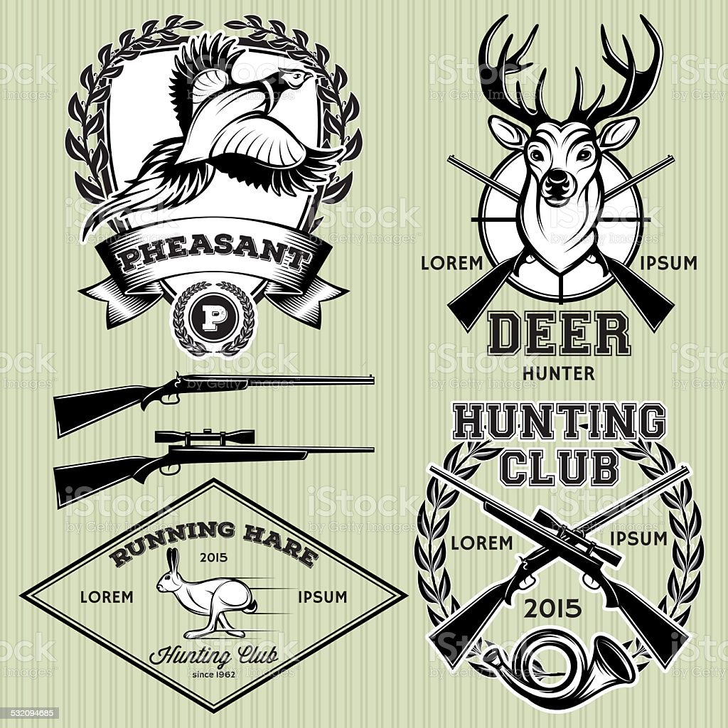set of emblems with a deer, hare, pheasant for hunting vector art illustration