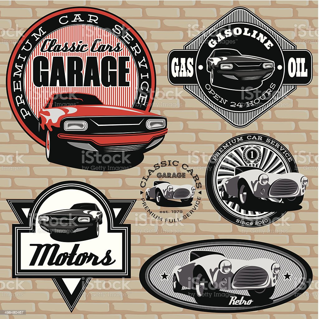 set of emblems with retro car on wall vector art illustration