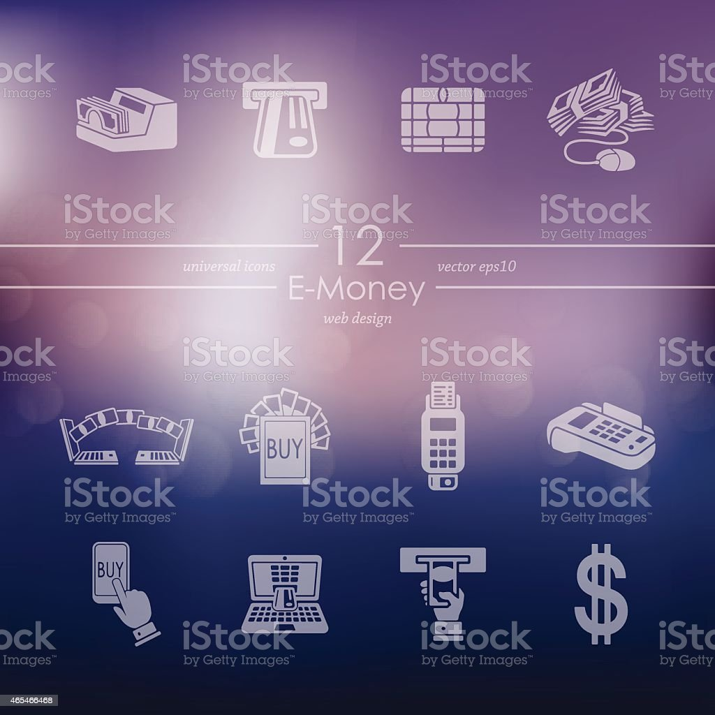 Set of e-money icons vector art illustration