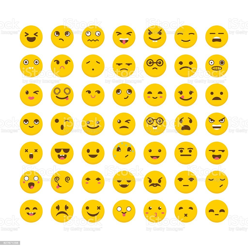Set of emoticons. Avatars. Flat design. Cute emoji icons vector art illustration
