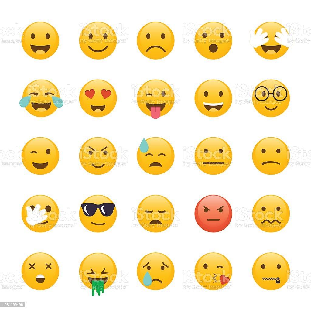 Set of Emoticons. Emoji flat design, avatar design. Vector illus vector art illustration