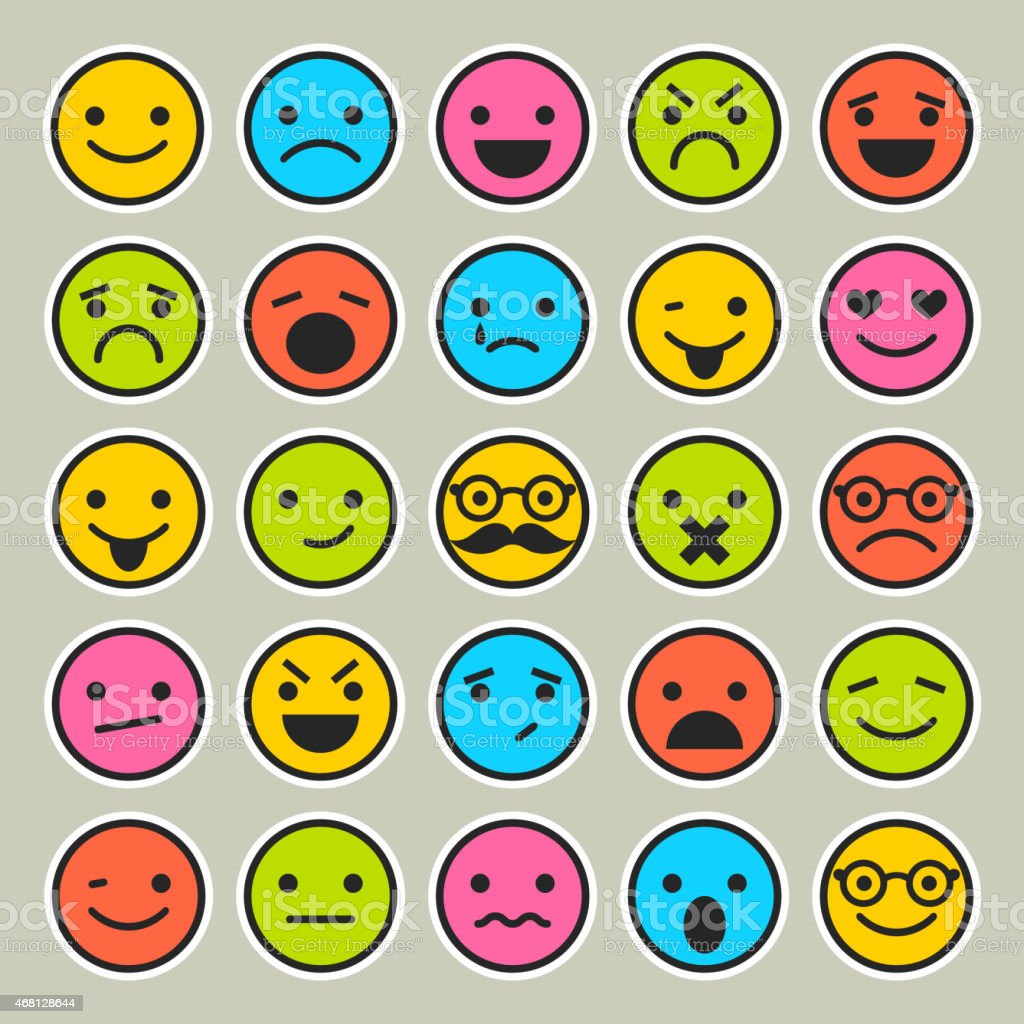 Set of emoticons, faces icons for design vector art illustration