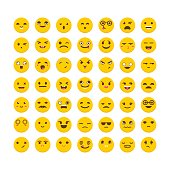 Set of emoticons. Funny cartoon faces. Cute emoji icons