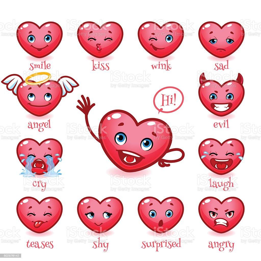 Set of emoticons funny heart. Smile, vector art illustration