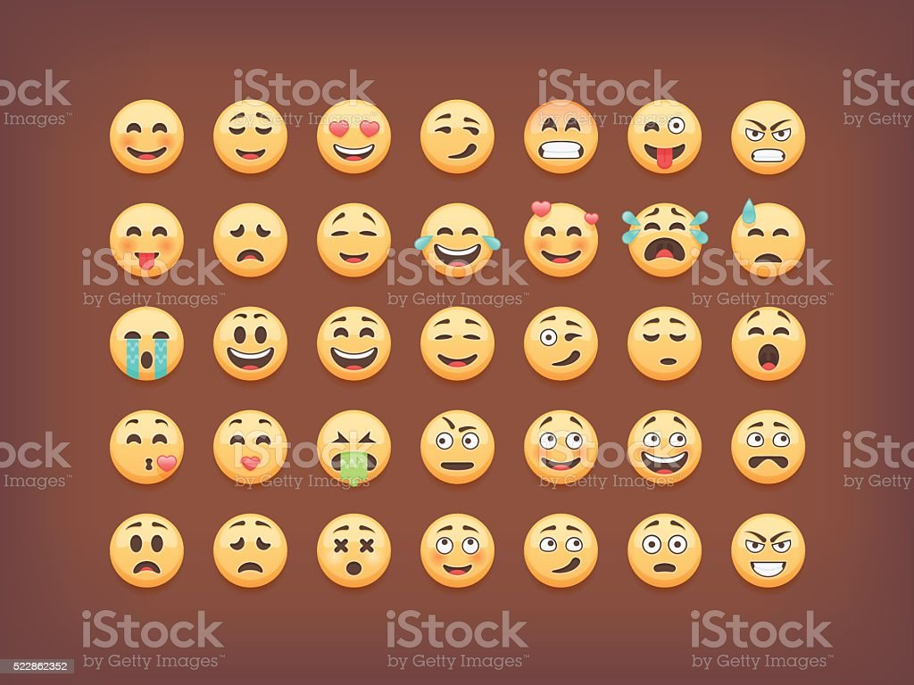 Set of emoticons, smileys  icon pack, isolated on brown background, vector art illustration