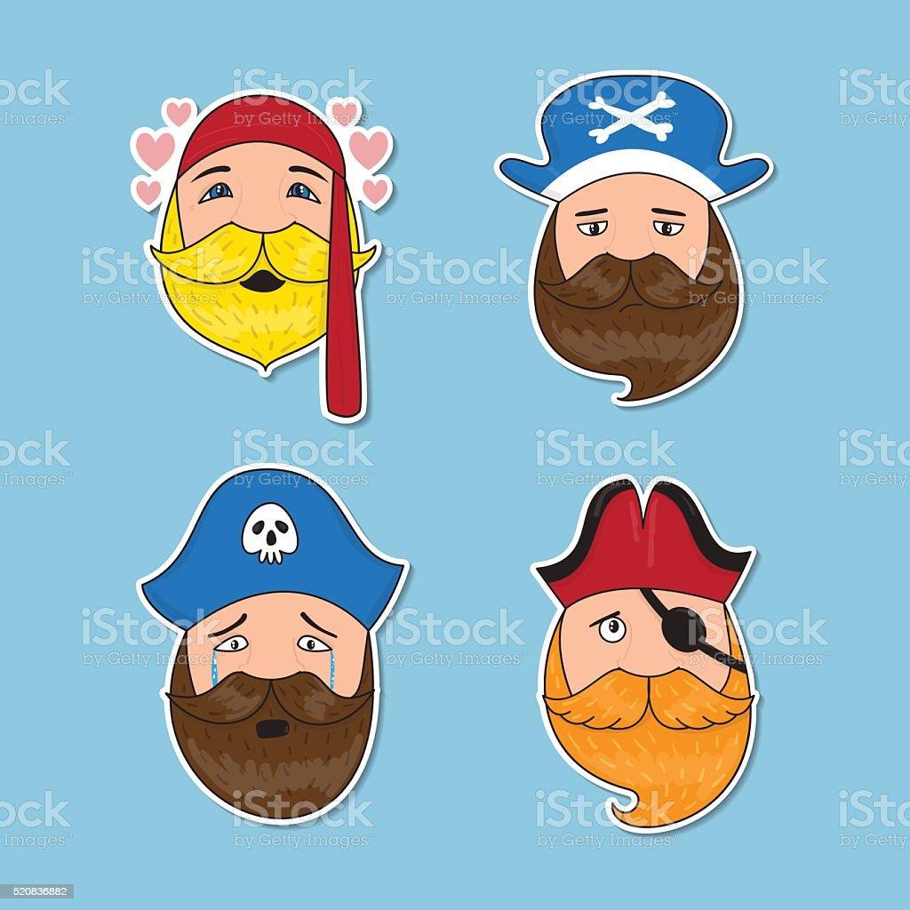 Set of emotional pirates. Different emotional faces. vector art illustration