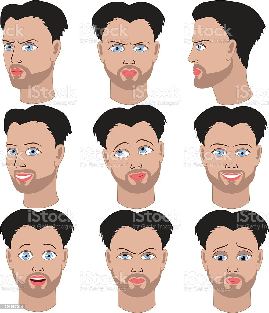 Set of emotions of the same guy with beard vector art illustration