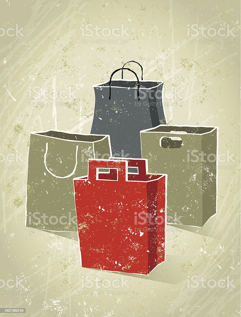 Set of Empty Shopping Bags royalty-free stock vector art
