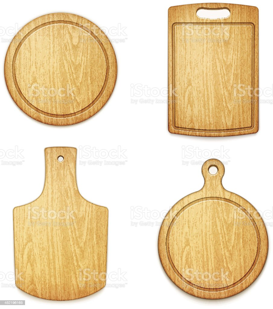 set of empty wooden cutting boards on white background vector art illustration