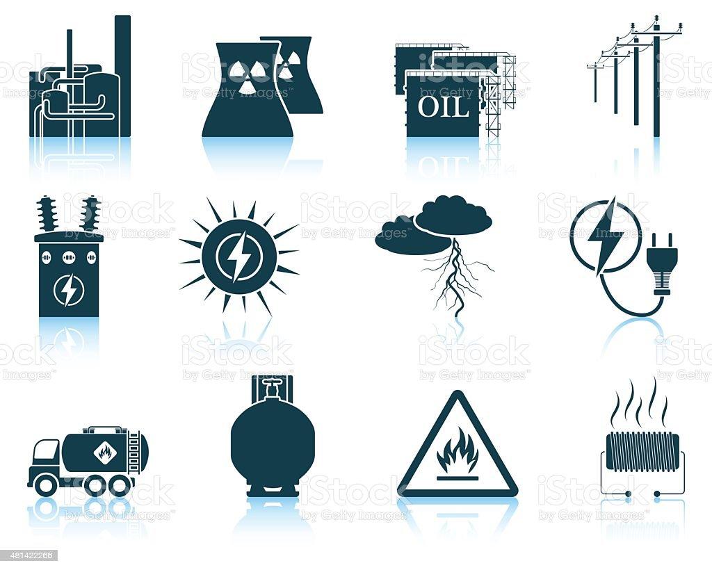 Set of energy icons. vector art illustration