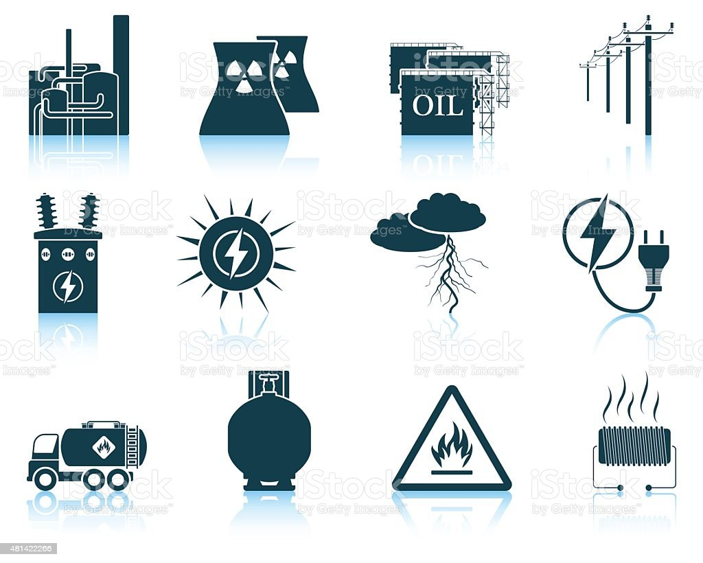 Set of energy icons. vector art illustration