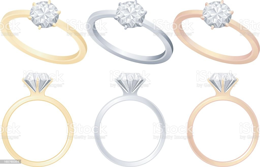 Set of engagement rings in different tones vector art illustration