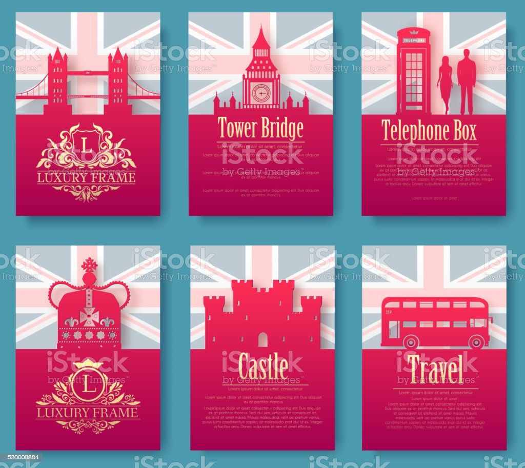 Set of England country ornament. Art traditional poster, abstrac vector art illustration