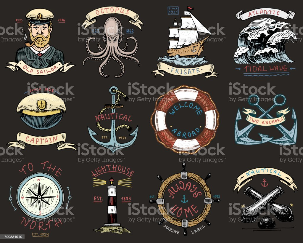 set of engraved vintage, hand drawn, old, labels or badges for anchor, steering wheel, captains cap, compass. Marine and nautical or sea, ocean emblems. always home vector art illustration