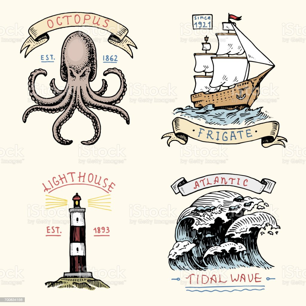 set of engraved vintage, hand drawn, old, labels or badges for atlantic tidal wave, lighthouse and octopus or sea creature, frigate or ship. Marine and nautical or sea, ocean emblems vector art illustration