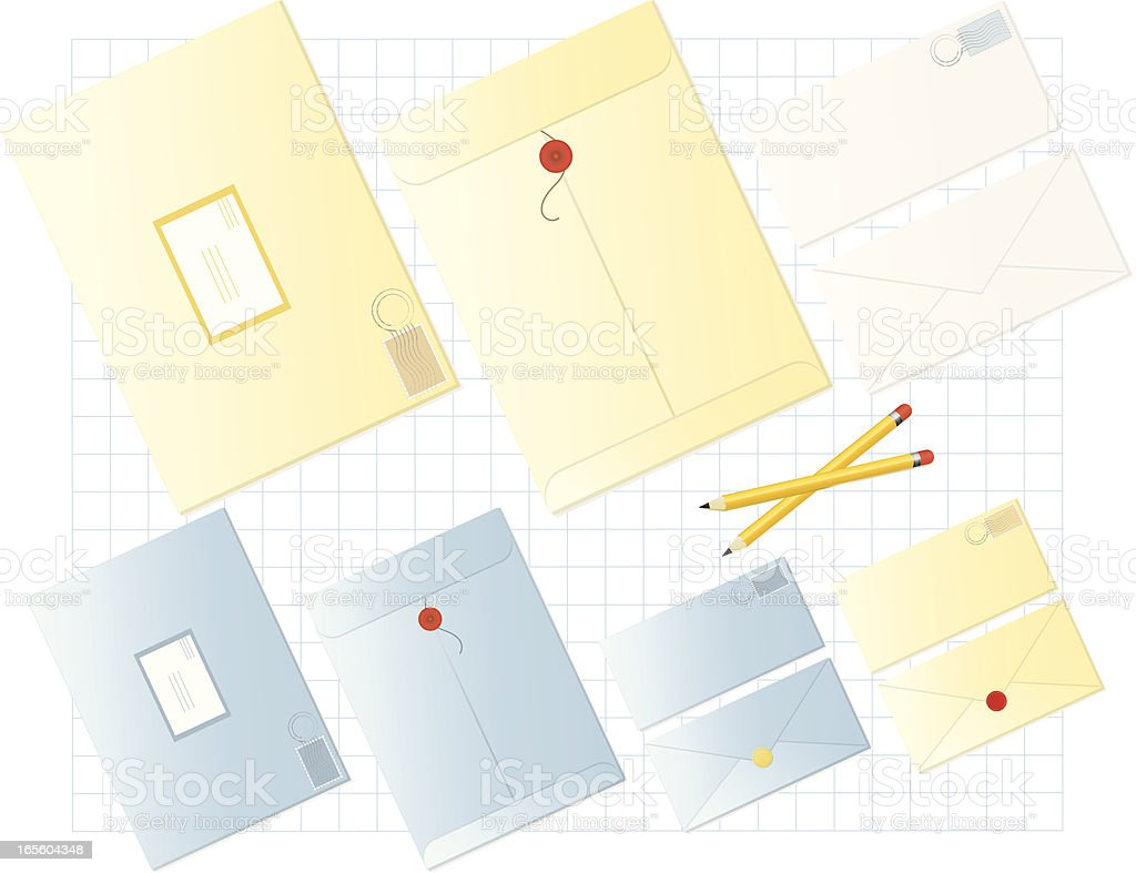 Set of Envelopes with Pencils and Graph Paper Background royalty-free stock vector art