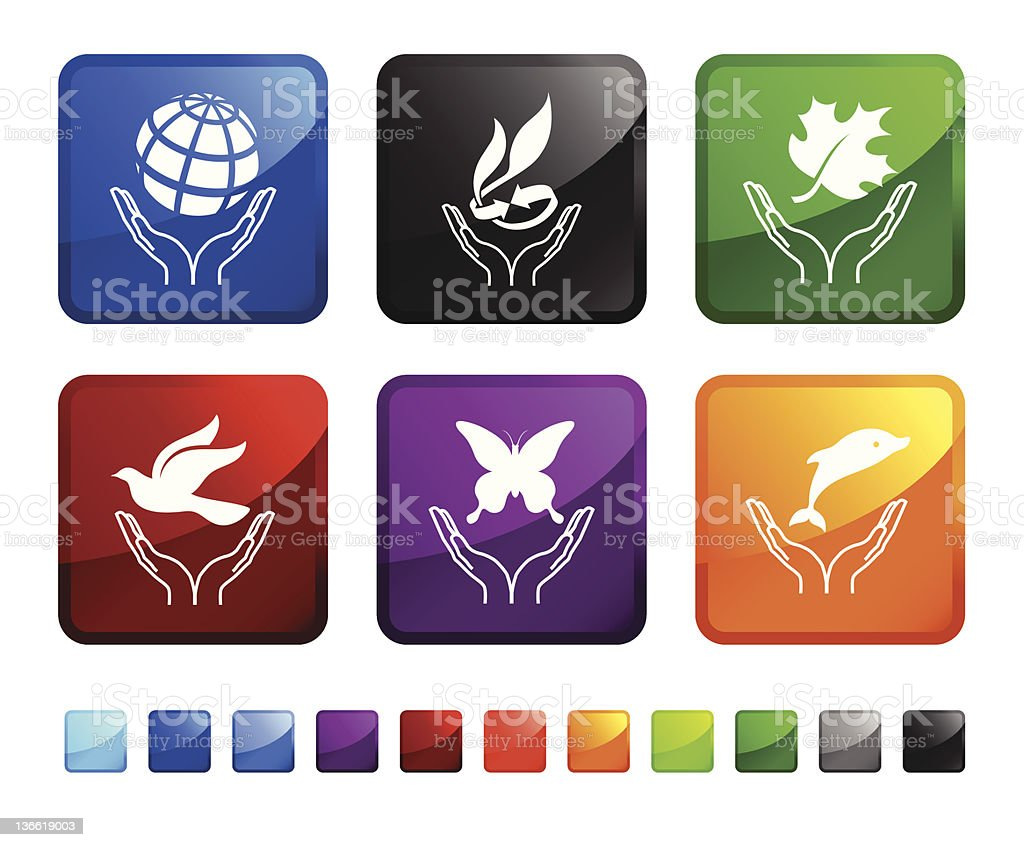 Set of environmental conservation icons in multiple colors. royalty-free stock vector art