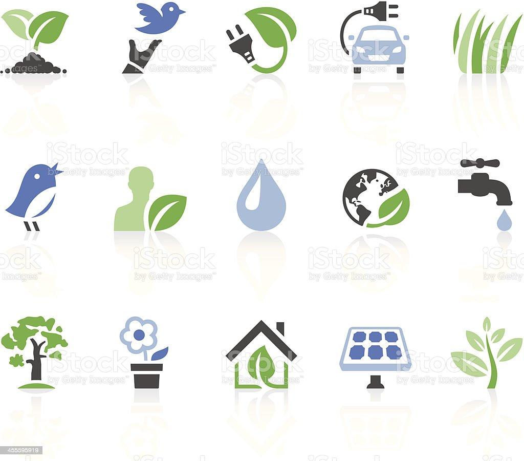 Set of environmental icons on white background vector art illustration