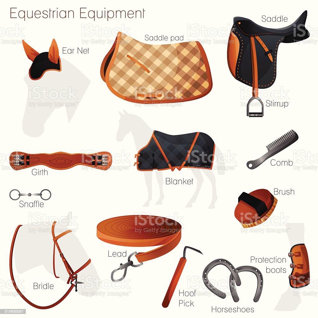 Set of equestrian equipment. Vector. vector art illustration