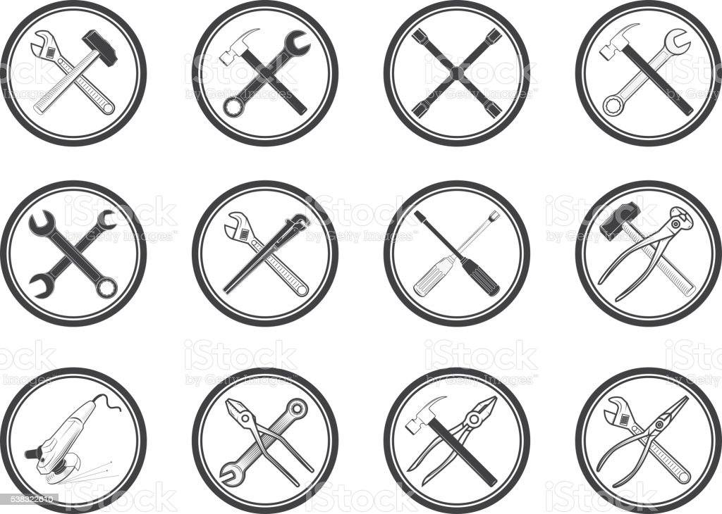 Set of equipment icons set. Vector labels with tools. vector art illustration