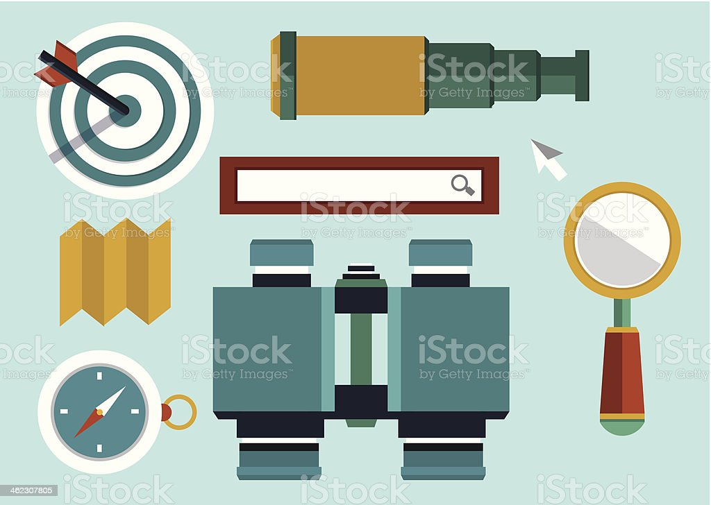 Set of equipments for search. Flat style design royalty-free stock vector art