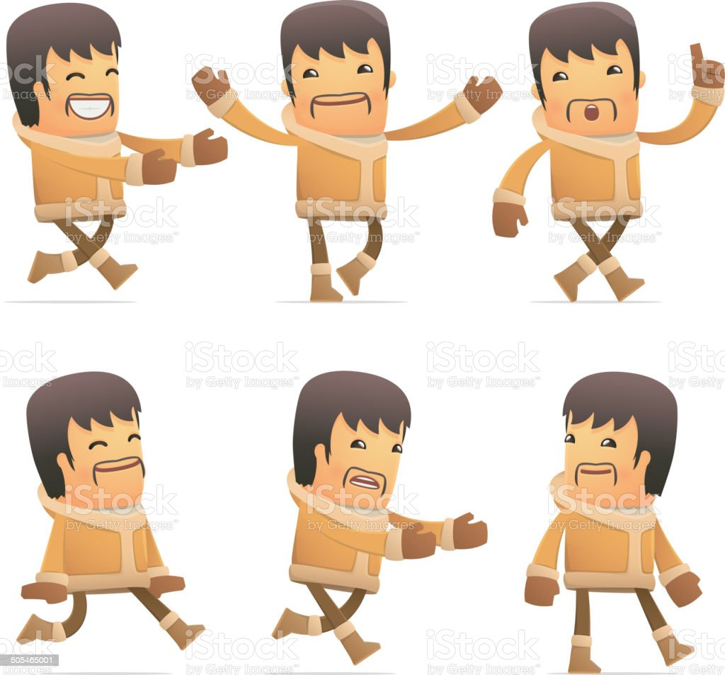 set of eskimo character in different poses vector art illustration