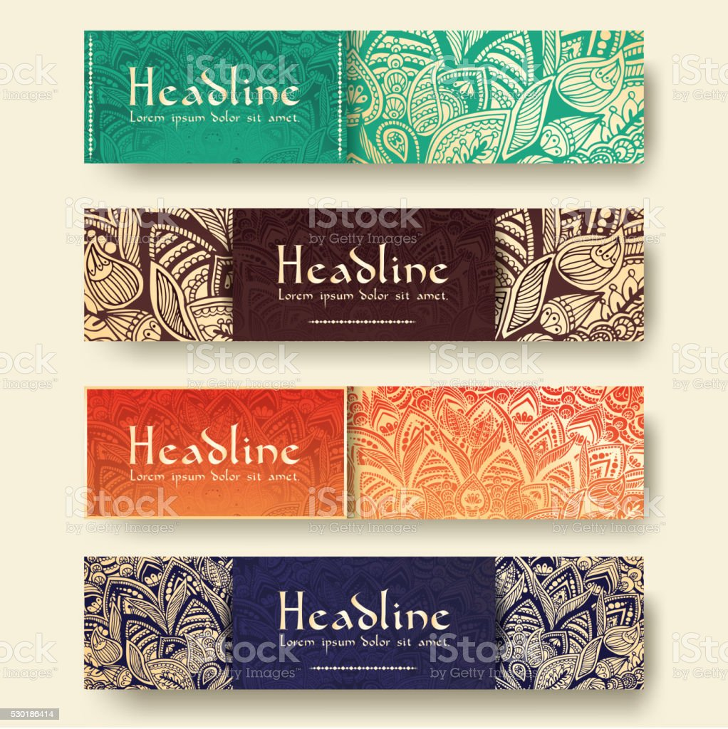 Set of ethnic ornament banners and flyer concept vector art illustration