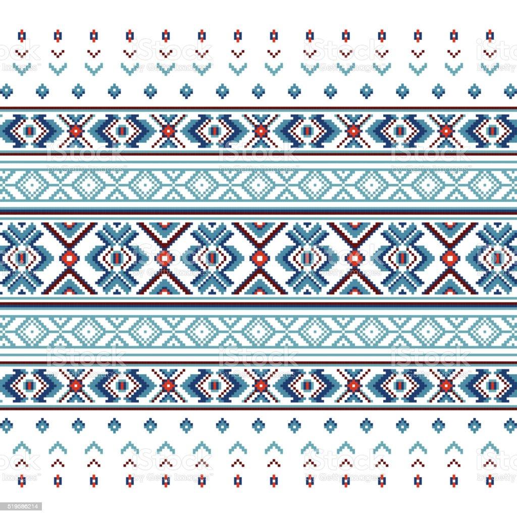 Set of Ethnic ornament pattern in blue colors vector art illustration