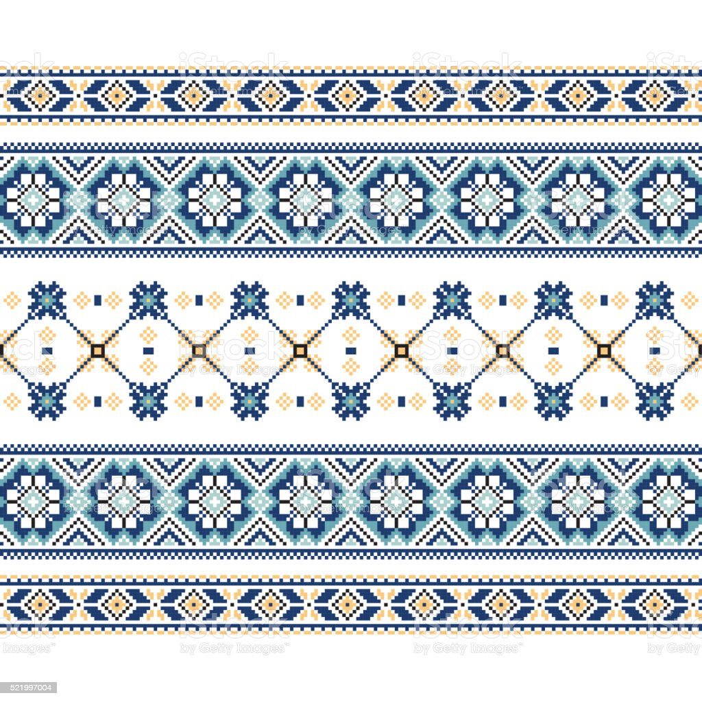 Set of Ethnic ornament pattern in blue colors vector art illustration