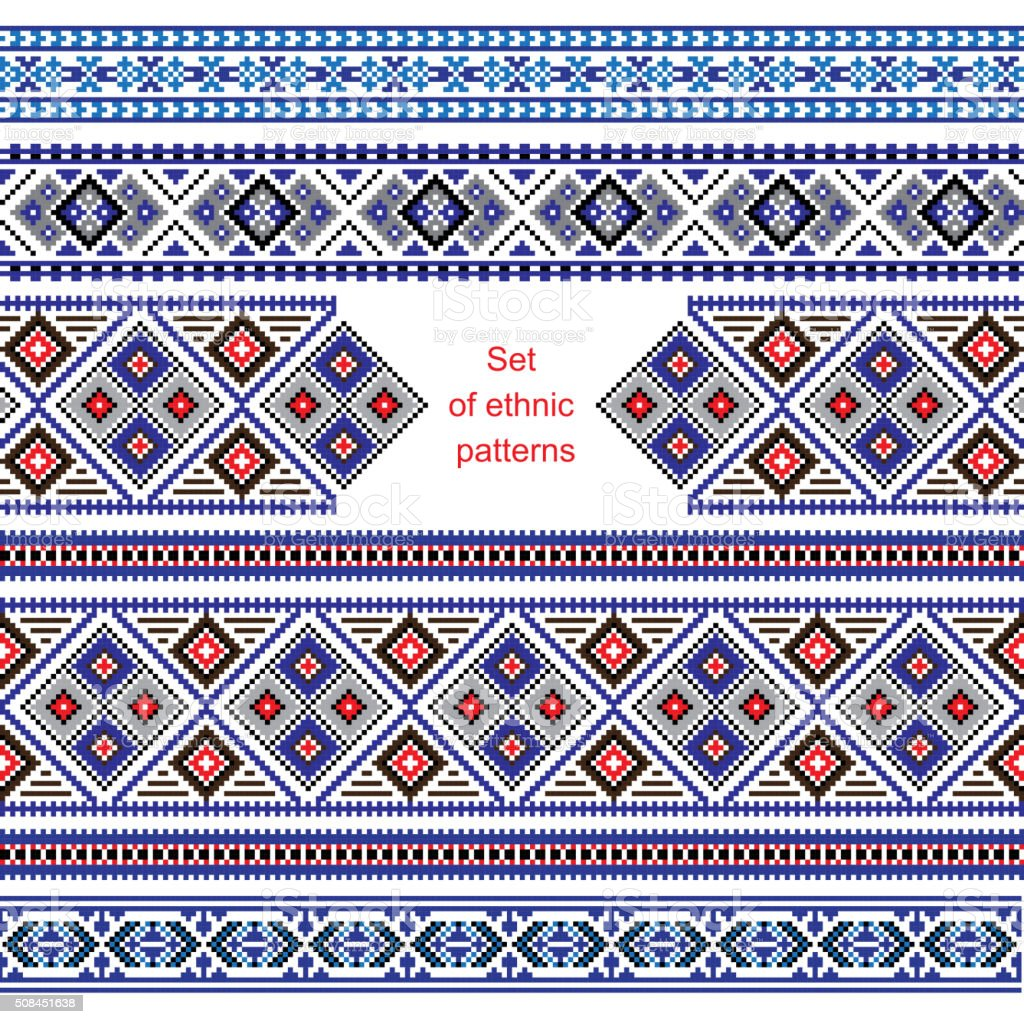 Set of Ethnic ornament pattern in different colors vector art illustration