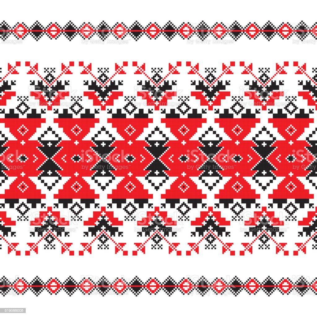 Set of Ethnic ornament pattern in red and black colors vector art illustration