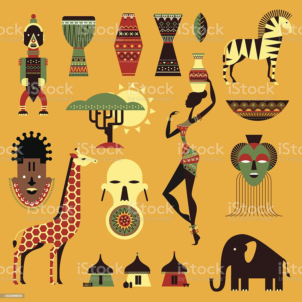 Set of ethnical and tribal style icons with an African theme vector art illustration