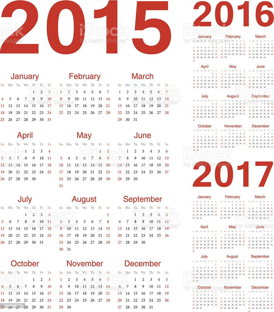 Set of european 2015, 2016, 2017 vector calendars vector art illustration