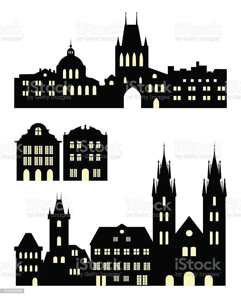 Set of european city silhouettes vector art illustration