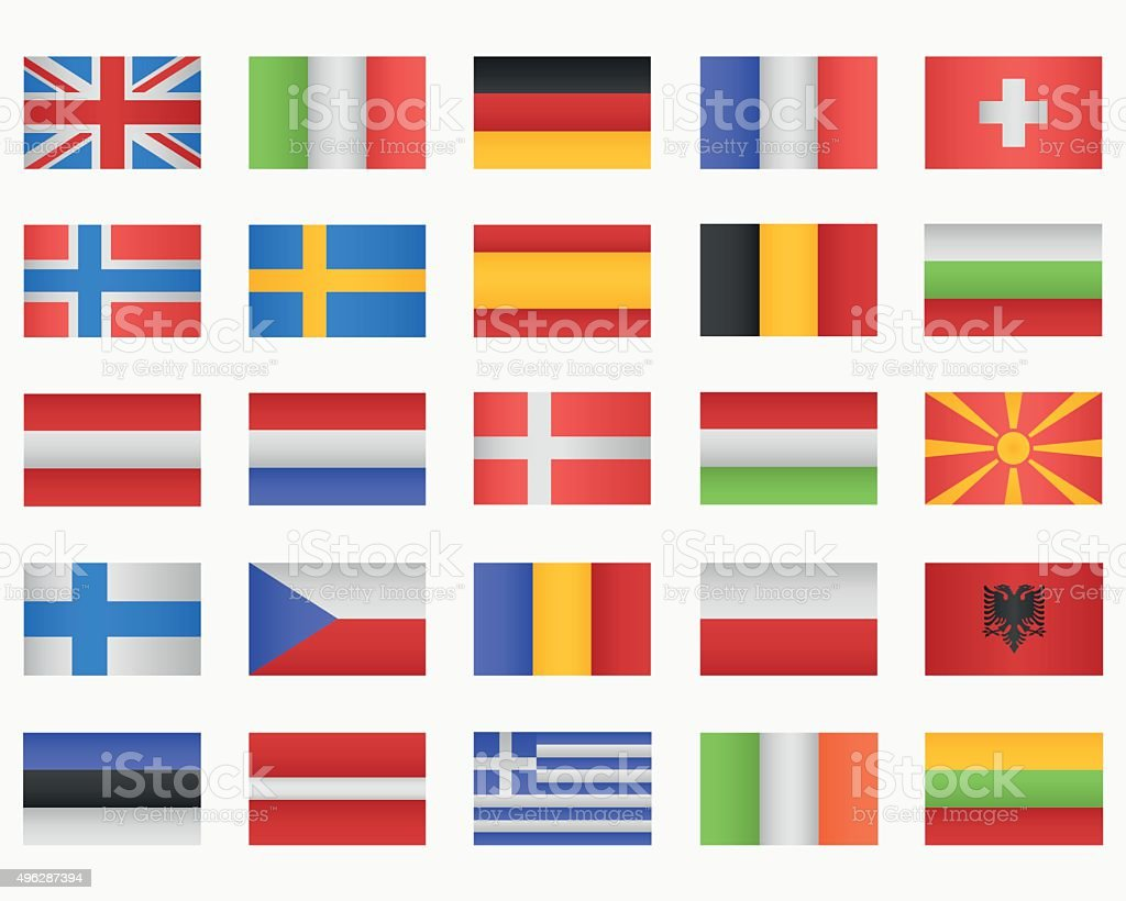 Set of European countries Flags vector art illustration