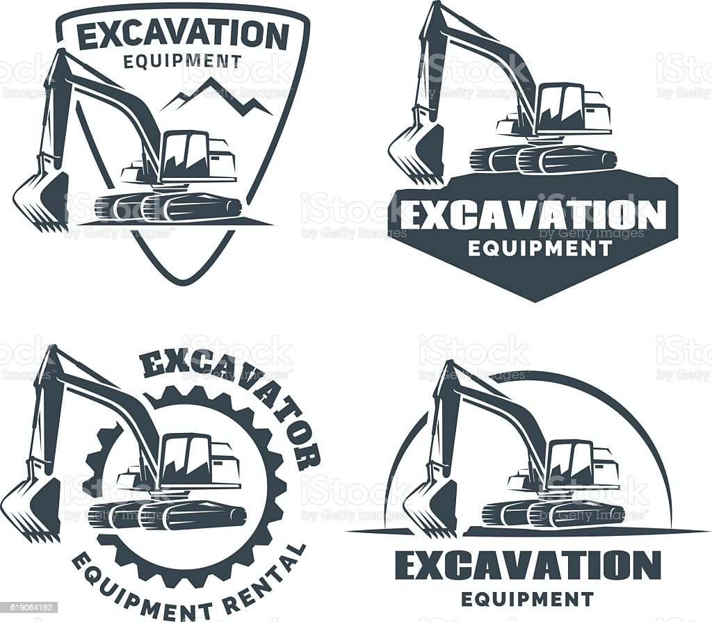 Set of excavator emblems and badges isolated on white background. vector art illustration