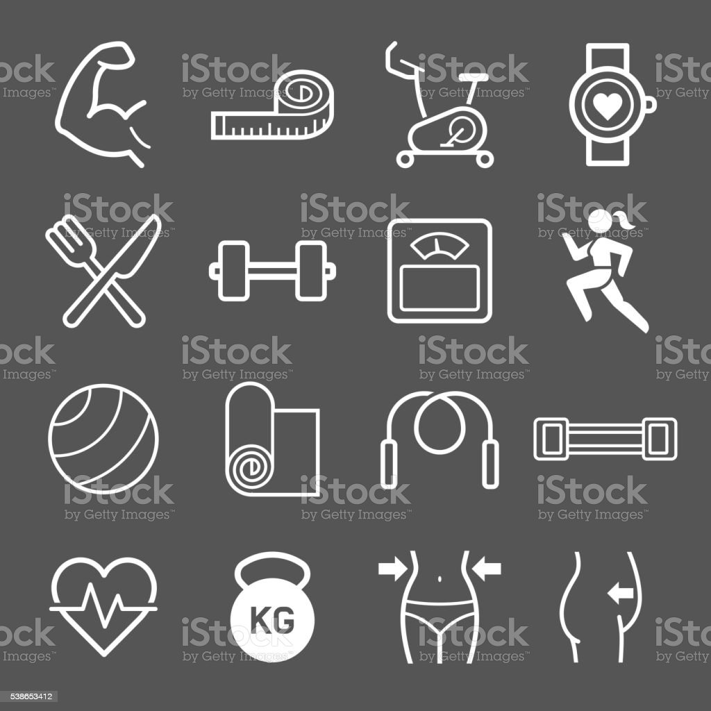 Set of exercise icons. vector art illustration