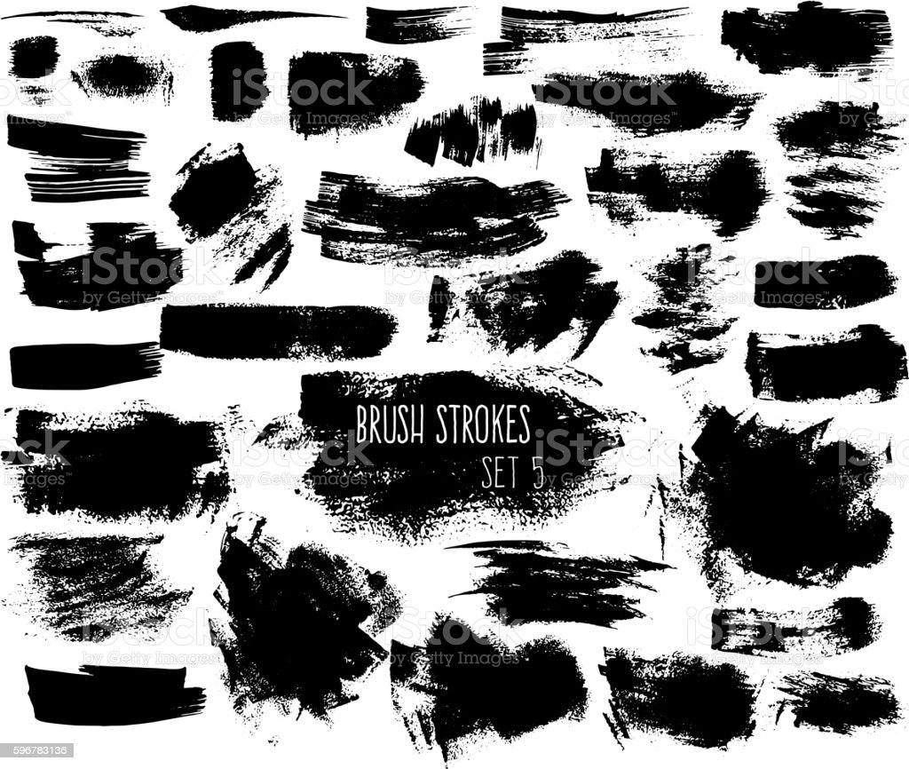 Set of expressive ink spots vector art illustration
