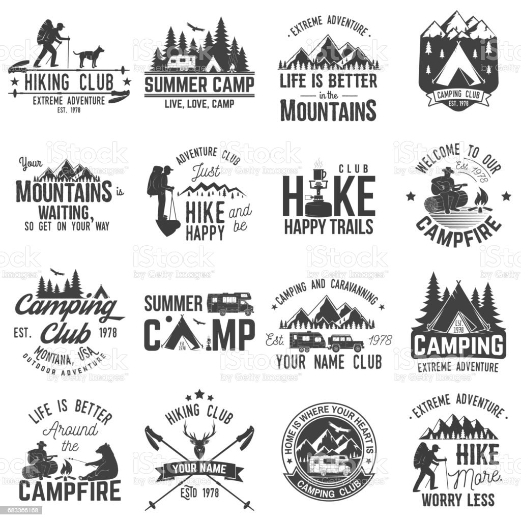 Set of extreme adventure badges. Concept for shirt or logo, print, stamp or tee vector art illustration