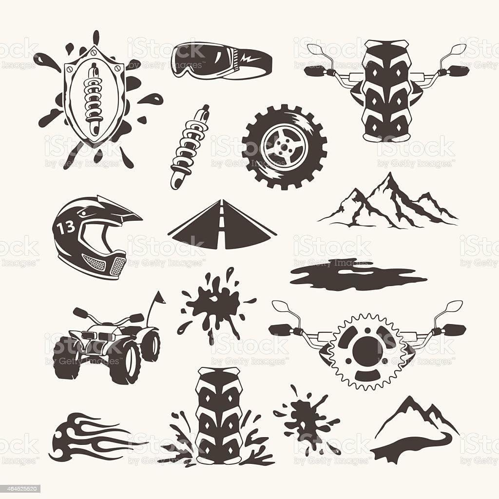 Set of extreme sports emblems, badges, labels and designed elements vector art illustration