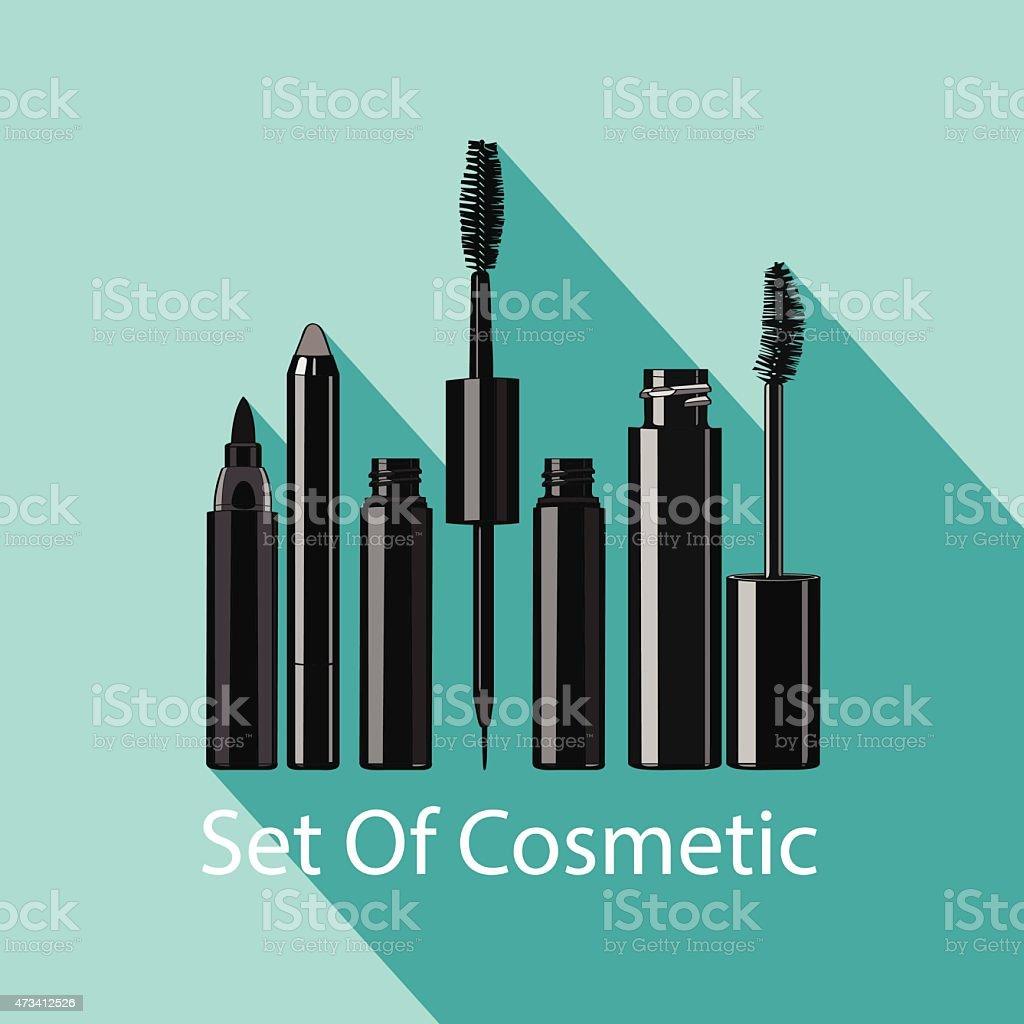 set of eye makeup vector art illustration