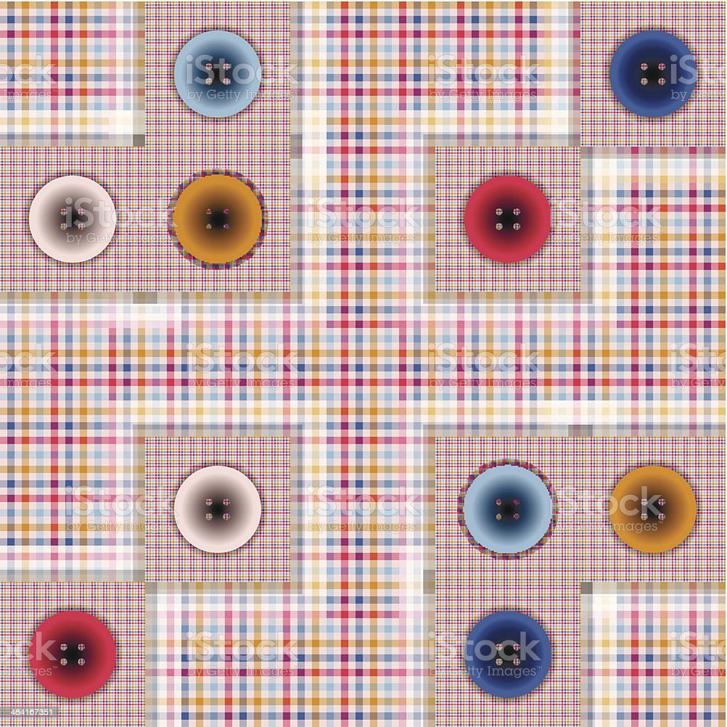 set of fabric with buttons vector art illustration