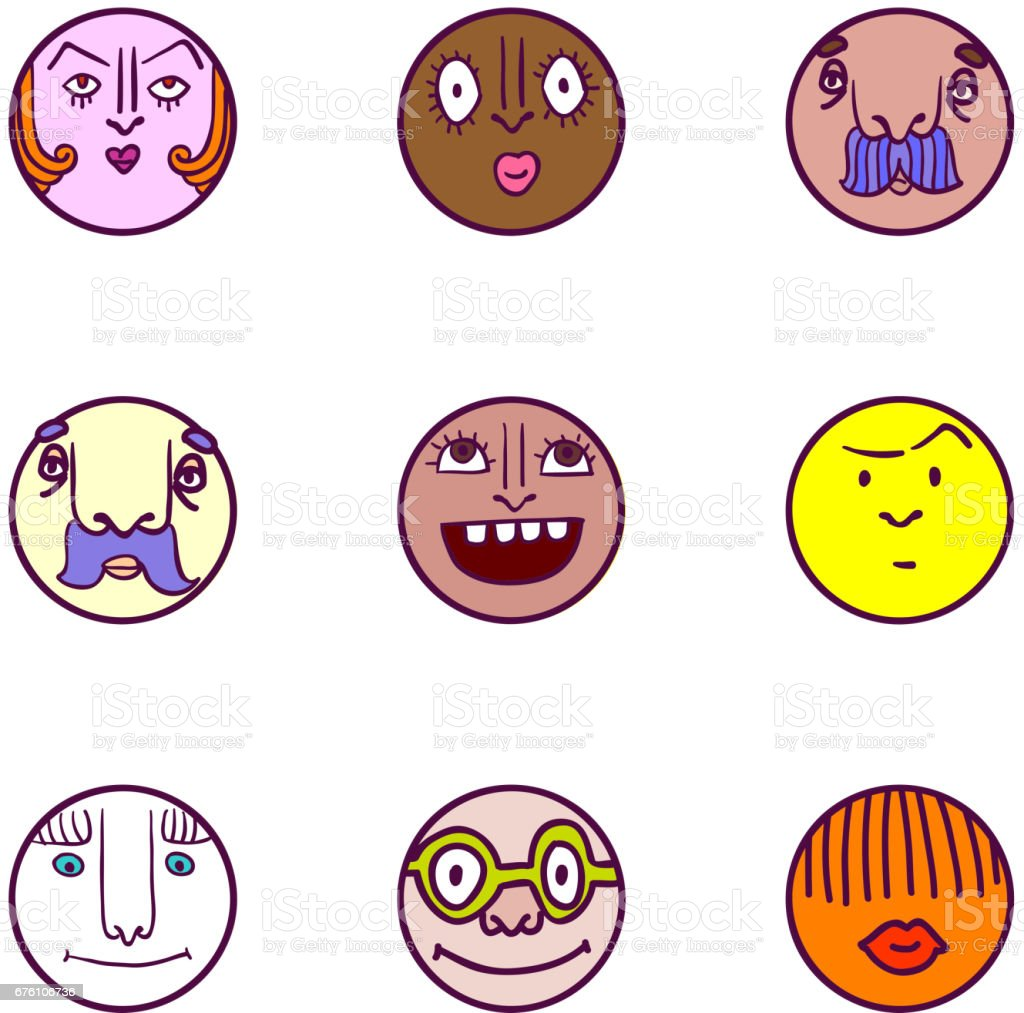Set of face avatar expression icons vector art illustration